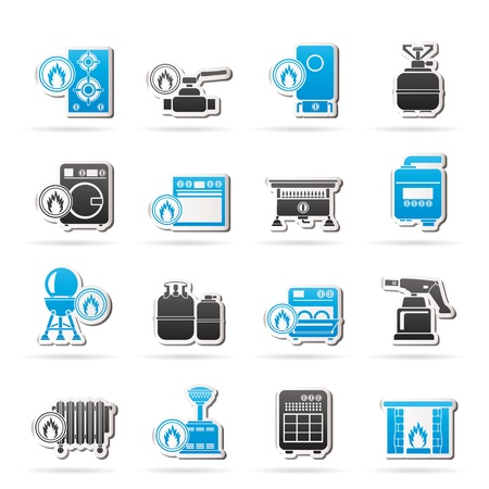 gas fireplace: Household Gas Appliances icons -  icon set