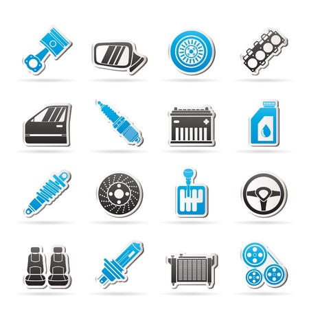 piezas coche: Detalladas piezas de autom�viles iconos - conjunto de iconos Vectores
