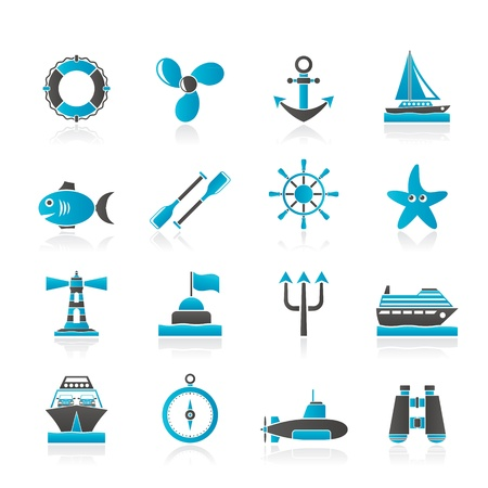 Marine and sea icons - vector icon set Illustration