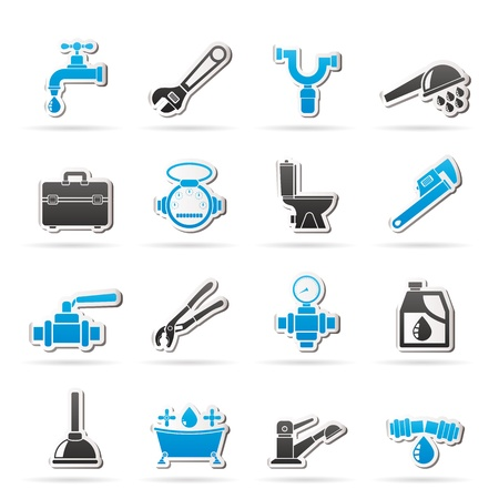 herramientas de plomeria: objetos de plomer�a y herramientas iconos - vector set icono