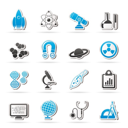 computer science: Science, Research and Education Icons - Vector Icon set Illustration