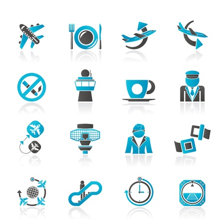 Aircraft,  airport and Plane Icons  Illustration