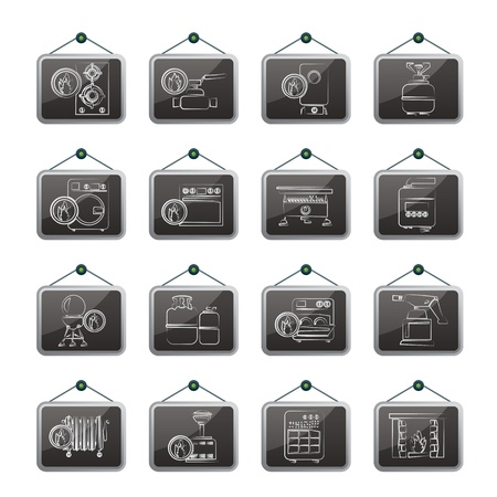 gas barbecue: Household Gas Appliances icons