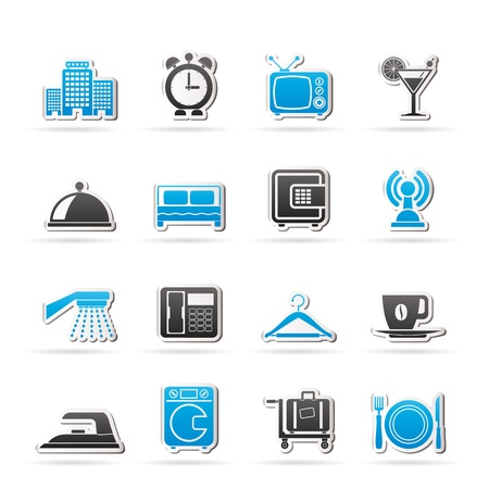 laundry room: Hotel, motel and travel icons - vector icon set Illustration