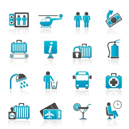 ванная комната: Аэропорт, командировочные и транспортные иконы - вектор икона набор 2