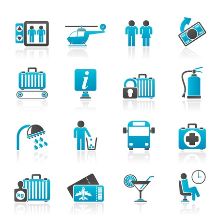 bathroom woman: Airport, travel and transportation icons -  vector icon set 2