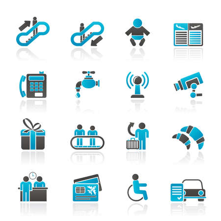 bank transfer: Airport, travel and transportation icons -  vector icon set 3 Illustration