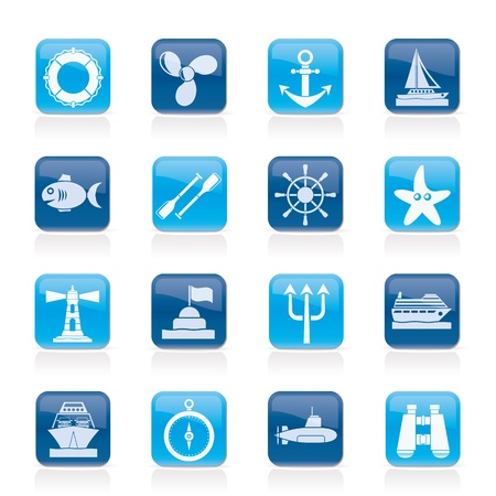 Marine and sea icons - vector icon set Stock Vector - 18804361