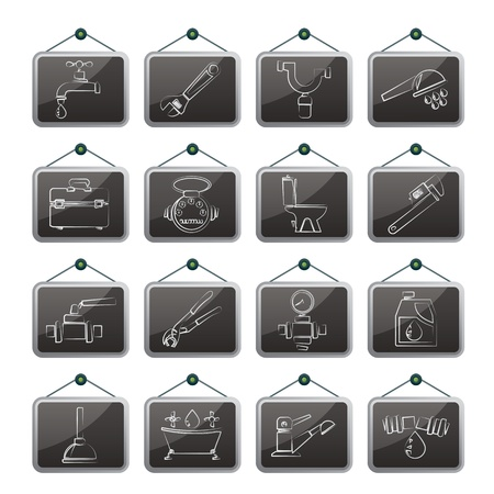sewerage: plumbing objects and tools icons - vector icon set