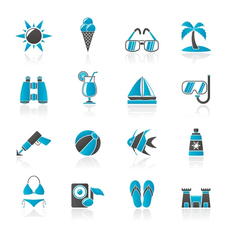 sunscreen: Tropic, Beaches and summer icons - vector icon set