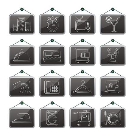 closet communication: Hotel, motel and travel icons - vector icon set Illustration