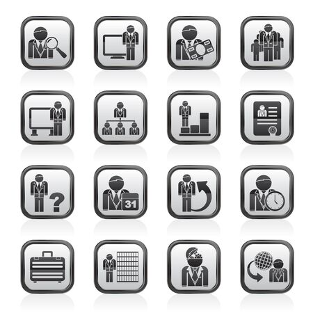 biography: Business, management and hierarchy icons - vector icon set