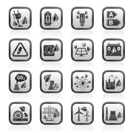 Green energy and environment icons - vector icon set Vector