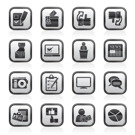 electronic voting: Voting and elections icons - vector icon set Illustration