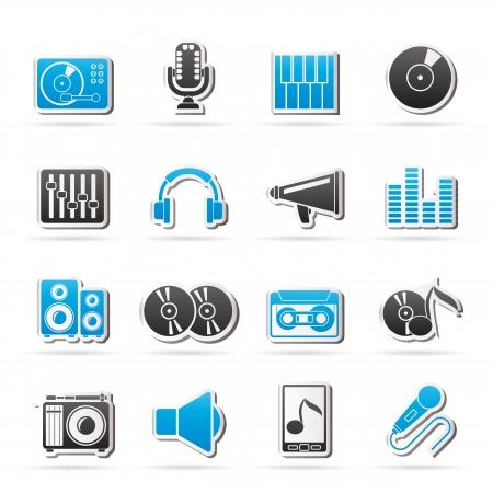 audio equipment: Music and audio equipment icons Illustration