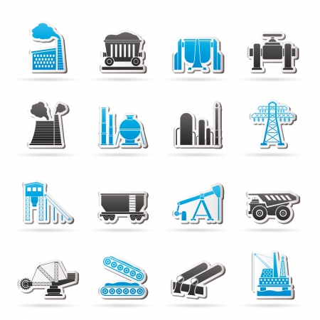 mine site: Heavy industry icons  vector icon set Illustration