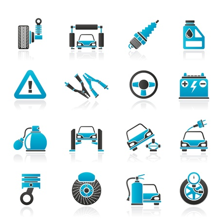 electric automobile: Car and road services icons -  icon set