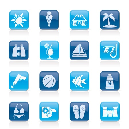 sunscreen: Tropic, Beaches and summer icons -  icon set