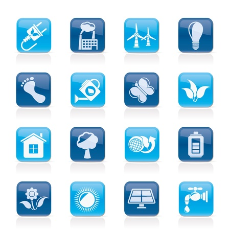 water mill: Green, Ecology and environment icons -  icon set