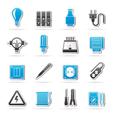 Electrical devices and equipment icons -  icon set Vector