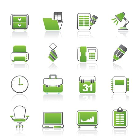 menu buttons: Business and office equipment icons - vector icon set