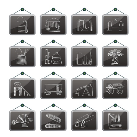 Heavy industry icons - vector icon set Vector