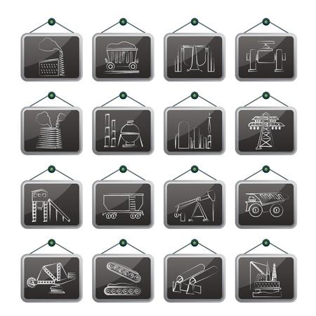 iron ore: Heavy industry icons - vector icon set