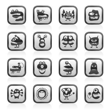 vaus abstract monsters illustration - vector icon set Stock Vector - 19721899