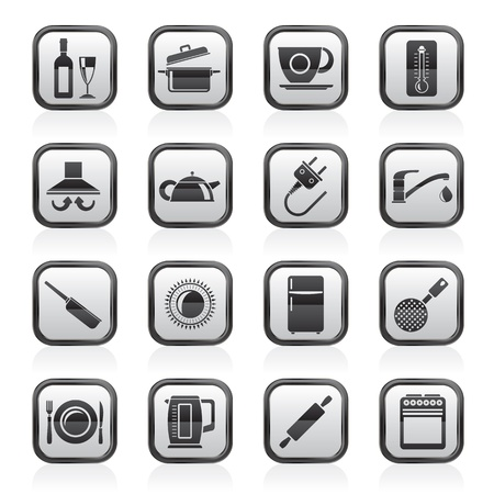 aspirator: kitchen objects and accessories icons- vector icon set