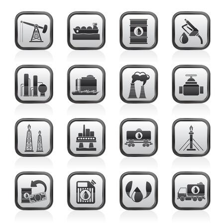 industria petrolera: Gasolina y aceite de iconos de la industria - Set vector icono