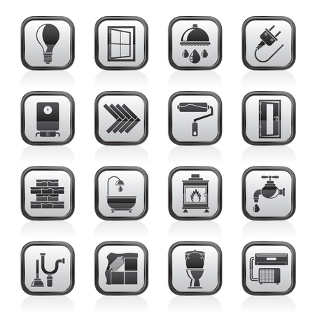 and heating: Construction and home renovation icons - vector icon set