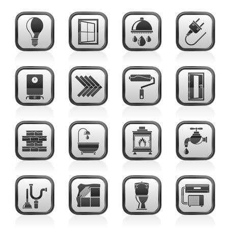 renovation de maison: Construction et r�novation maison ic�nes - vecteur ic�ne ensemble