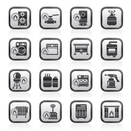 chemin�e gaz: Gaz Appareils m�nagers ic�nes - vecteur ic�ne ensemble Illustration