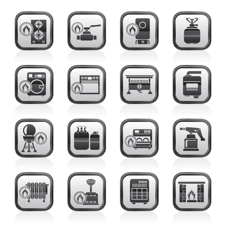 gas fireplace: Household Gas Appliances icons - vector icon set Illustration