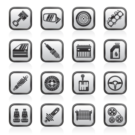 pulley: Detailed car parts icons - vector icon set