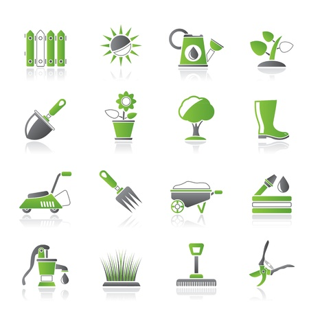 sowing: Gardening tools and objects icons - icon set