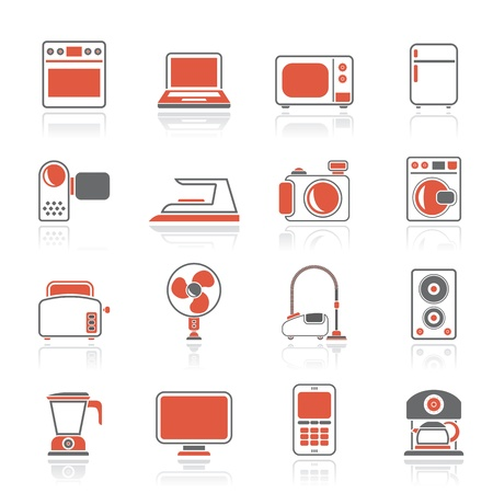 food processor: household appliances and electronics icons - icon set