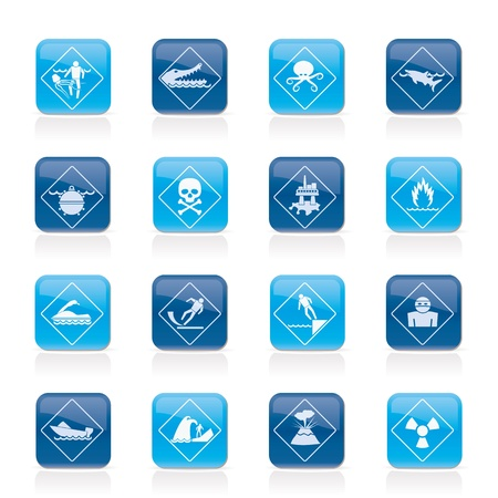 poison sea transport: Warning Signs for dangers in sea, ocean, beach and rivers - icon set 1