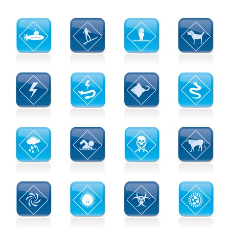 Warning Signs for dangers in sea, ocean, beach and rivers - icon set 2 Stock Vector - 20015395
