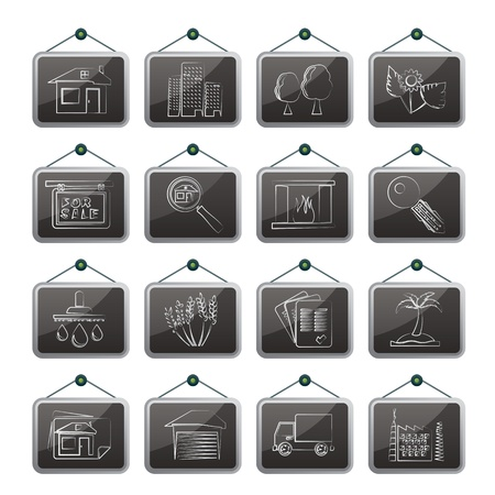 fireside: Real Estate and building icons - Icon Set Illustration
