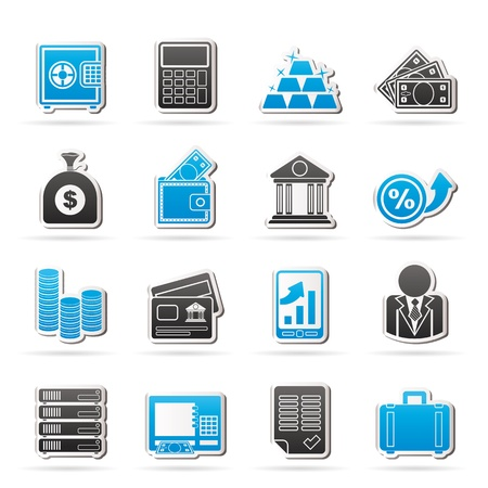 menu buttons: Bank and Finance Icons - Icon Set Illustration
