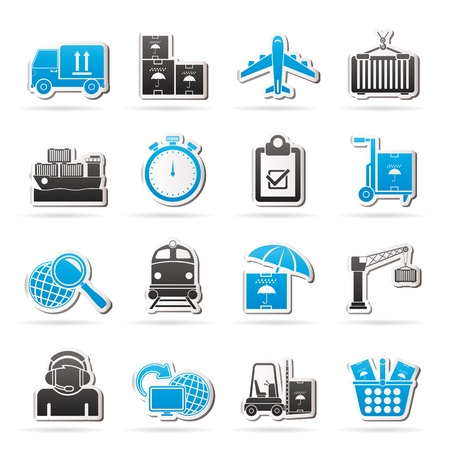 Cargo, shipping and logistic icons - icon set Vector
