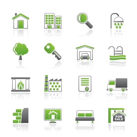 car garden: Real Estate Icons - Vector Icon Set Illustration