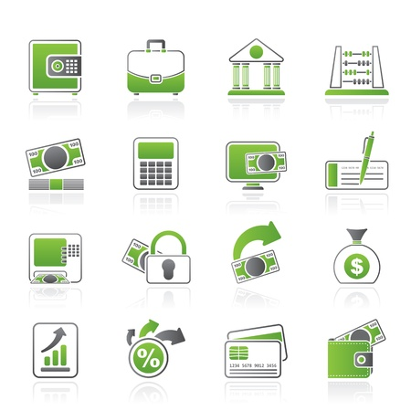 Bank, business and finance icons - vector icon set Illustration