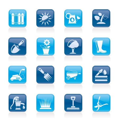 Gardening tools and objects icons - vector icon set Illustration