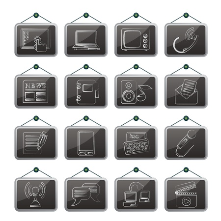Communication and connection icons - vector icon set Vector