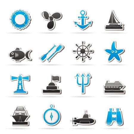 neptuno: Iconos de Marina y el mar - conjunto de iconos vectoriales
