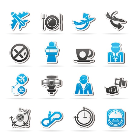 hostess: Aircraft,  airport and Plane Icons - vector icon set