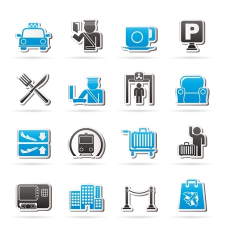 Airport, travel and transportation icons -  vector icon set 1 Vector