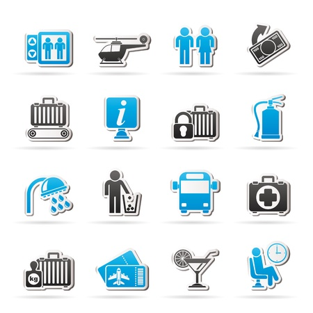 medical bills: Airport, travel and transportation icons -  vector icon set 2